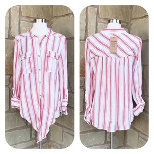 NWT Thread & Supply Striped Button Front Linen Top
